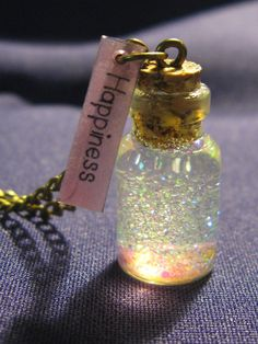 Mini Fairy Bottle of Happiness pendant by cherryblackboutique, £6.99