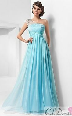 A-line One Shoulder Floor-length Chiffon And Tulle Evening Dress - NOK kr. Pretty Prom Dresses, Prom Dresses Blue, Wedding Party Dresses, Ball Dresses, Bridal Dresses, Beautiful Dresses, Evening Dresses, Bridesmaid Dresses, Dress Prom