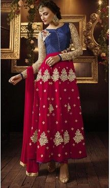 Latest Style Long Designer Wear Stitched Salwar Suits in Pure Silk and Navy Blue…
