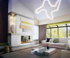 ideen wohnzimmer neutrale farben gaskamin skulpturale hängeleuchte