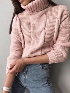 Knitting Pink cable knit sweater - Arm knit powder sweater - handmade wool sweater Cable Knit turtleneck sweater Wool Pullover Warm Sweater Short w Casual Sweaters, Winter Sweaters, Cable Knit Sweaters, Pullover Sweaters, Women's Sweaters, Winter Mode Outfits, Winter Fashion Outfits, Sweater And Shorts, Sweater Outfits