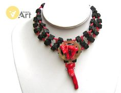 "Hells Bells Steampunk or Gothic choker (filigre collar) for brave women. It is made from volcanic lava and coral . Jewerly perfect for black vampic laces. ""Hells Bells"" name is a reference to great disc an AC/DC. Using materials: watch gear, coral stones, volcanic lava cubes, glass beads"