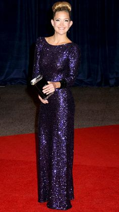 Kate Hudson: Jenny Packham, 2012 -   Hudson feted the White House Correspondents' Dinner in a purple sequin dress from Jenny Packham and an acrylic Edie Parker clutch.