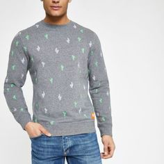 Superdry Cotton fabric All over cactus print Crew neck Long sleeve Cuffed hems Our model wears a UK M and is tall Mens Sweatshirts, Hoodies, Crew Neck Sweatshirt, Pullover, Cactus Print, Superdry, Collar Shirts, Style Guides, Cotton Fabric