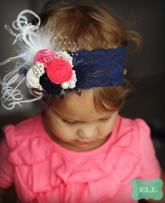 Navy and Coral Shabby Chic Vintage Headband on Etsy, $22.99