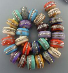 PT Handmade Lampwork Glass Beads Silvered Santa Fe Disks SRA  #SRAOOAKHandmadeLampwork #Lampwork