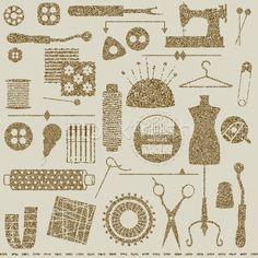 Free Vintage Sewing Images | ... illustration : Vintage textured sewing and tailoring related symbols