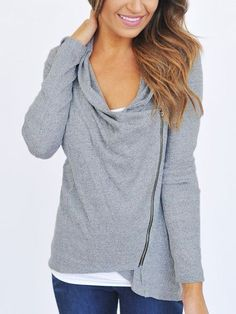Plus Loose Cowl Neck Zipper Long Sleeve Pullover Tops Blouse