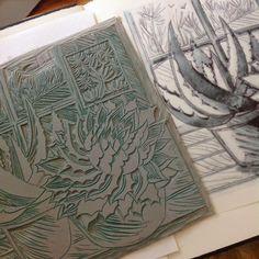 Celia Hart ~ Linocut, illustration work in progress for Gardens Illustrated magazine