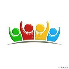 3d illustration of persons waving hands. Concept of teamwork. 3D