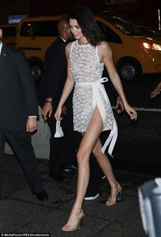 Stepping out: Stepping out in lucite heels, her gorgeous gams were thrust on center stage ... #kendalljenner