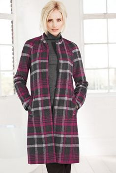 Collarless Check Coat Soft tonal check collarless coat with gentle A-line styling. 2 front pockets, raglan sleeve and zip front fastening.