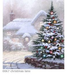 snowy Christmas tree with lights by Richard Macneil