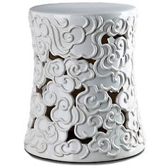 Vern Yip Home Ceramic Cloud Garden Stool at HSN.com.  White or blue?