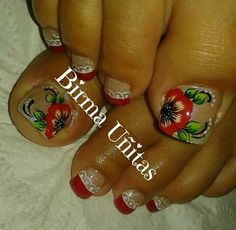 Pedicure Designs, Nail Art Designs, Cute Pedicures, French Pedicure, Toe Nails, Small Tattoos, Finger, Lily, Nail Design