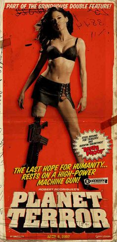 Planet Terror (2007) USA D/Co-Prod/Co-Sc/Co-Ph/Co-Ed: Robert Rodriguez. Dimension Horror. Grindhouse homage. Rose MacGowan, Josh Brolin, Marley Shelton, Jeff Fahey, Michael Biehn, Bruce Willis, Naveen Andrews, Fergie, Tom Savini, Quentin Tarantino, Michael Parks, Danny Trejo, Cheech Marin. (4/10) 02/11/14