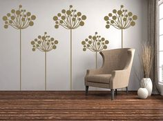 Dandelions Decorative Flowers Floral Wall Decals Graphic Vinyl Sticker Bedroom Living Room Wall Home Decor Monogram Wall Decals, Custom Wall Decals, Flower Wall Decals, Tall Flowers, Floral Wall, Flower Decorations, Wall Murals, Living Room, Large Format