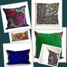 подушки из павлопосадских платков
