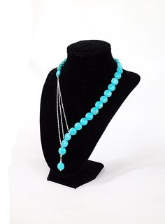 Asymmetrical turquoise necklace with silver by BijouxDesignsStudio