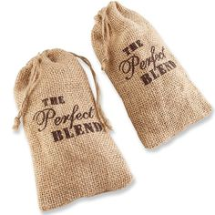 Kate Aspen Set of 12 The Perfect Blend Coffee Favor Kit, Rustic Burlap Product DescriptionNow this is a favor bag if there ever was one. Big, burlap, branded and carrying coffee to remind everyone . Coffee Favors, Coffee Wedding Favors, Wedding Favor Bags, Beach Wedding Favors, Wedding Favors For Guests, Bridal Shower Favors, Wedding Ideas, Fall Wedding, Wedding Stuff