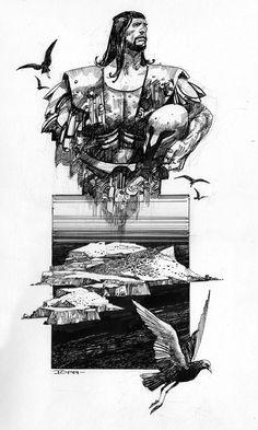 Italian Masters of Comic Art: Sergio Toppi - Leggende del Salento #2 - Pen and ink on paper