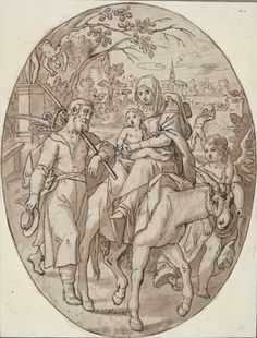 Adam van Noort, Flemish, 1562 - 1641. Flight into Egypt,  n.d. Pen and brown ink and brown wash over sketch in black chalk, pricked for transfer, 21.4 x 16.5 cm (8 7/16 x 6 1/2 in.) (cut to an oval)