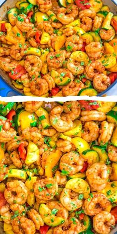 This Easy Shrimp and Vegetable Skillet makes a healthy, quick, and delicious dinner! Packed with wild-caught shrimp, tender zucchini, and sweet bell peppers Shrimp Recipes Easy, Seafood Recipes, Cooking Recipes, Healthy Recipes, Healthy Food, Skillet Shrimp, Shrimp And Vegetables, Shrimp Dishes, Clean Eating Snacks