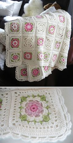 Free flower granny square pattern - this would be great for a baby blanket, especially if you alternated between this square design and a neutral colored, plain Crochet Motifs, Crochet Quilt, Crochet Blocks, Crochet Squares, Crochet Home, Knit Or Crochet, Baby Blanket Crochet, Crochet Crafts, Crochet Stitches