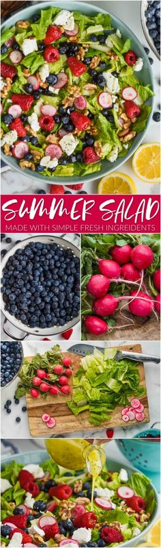 This Summer Salad Recipe is full of delicious fresh ingredient and made perfect with my Lemon Poppyseed Dressing. This is a fast summer salad that you will want to bring to all the summer picnics and BBQs! Fresh Salad Recipes, Summer Salad Recipes, Healthy Salad Recipes, Vegetarian Recipes, Best Summer Salads, Easy Potato Salad, Spinach Strawberry Salad, Bacon Salad, Salad Ingredients