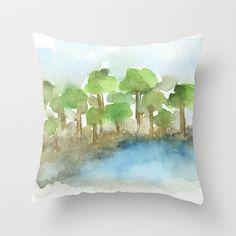 Trees by the Sea I Throw Pillow by Marina Kanavaki - $20.00