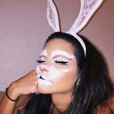 Looking for for ideas for your Halloween make-up? Browse around this website for creepy Halloween makeup looks. Bunny Halloween Makeup, Bunny Makeup, Rabbit Halloween, Couples Halloween, Pretty Halloween, Scary Halloween, Halloween Party, Halloween Costumes, Halloween Contacts