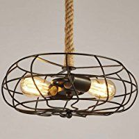 BAYCHEER HL422086 Industrial Retro Vintage style with 39.37 inch hemp rope 2 Lights Chandelier Pendant Light Lampe use E26/27 Bulb