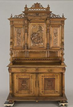 243: French Henri II carved walnut buffet, the top cent : Lot 243
