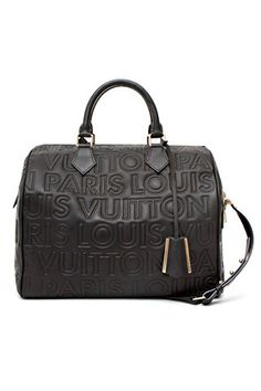 Louis Vuitton Embossed Black Leather Speedy