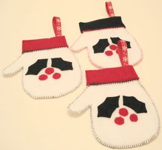 Christmas Mitten Ornaments Set of 3 by MurphysHouse on Etsy