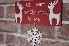 Christmas Wooden Wall Hanging Plaques HandMade Reindeer Snowflake Decorations