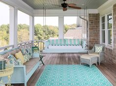 Porch Swing, (but why would you make place the sofa facing the house). Shingle beach house with porch swing painted in Sea Salt by Sherwin Williams. Wicker Porch Swing, Porch Swings, Patio Swing, Swing Chairs, Outdoor Spaces, Outdoor Living, Dream Beach Houses, House With Porch, Beach House Decor