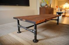 Here is a DIY idea for a table made from recycled steel tubing, fittings and wood. This would suit almost any area of your home. #DIY #homeimprovement #lifestyles