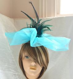 Feather Fascinator - Couture Millinery - Derby Hat - Cocktail Hat - Garden Party Hat - Blue Feather Hat - Wedding Hat - Blue Bridesmaid Hat
