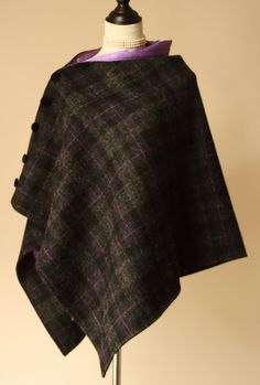 Charcoal and Lilac Harris Tweed Cape