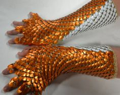 Items similar to Dragonhide Scale armor gauntlets with half fingers Custom made to order on Etsy Dragon Scale Armor, Scale Mail, Armor Clothing, Dragon Costume, Fantasy Armor, Super Hero Costumes, Chain Mail, Fursuit, Cosplay Costumes