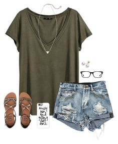 Messy bun and getting stuff done! by savanahe on Polyvore featuring H&M, Billabong, Kendra Scott, Mikimoto, Casetify and Ray-Ban