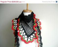 SUMMER SALE New Season Spring 2012 Triangle Black by crochetlab, $30.60