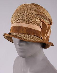 Cloche Hat c1926 by John Wanamaker Company. Straw silk grosgrain ribbon | Philadelphia Museum of Art