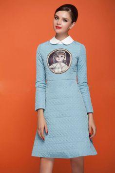 2013 European Style Antique Porcelain Doll lapel Lingge Winter Padded Long-Sleeved Dress Women