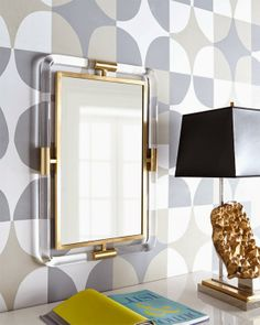 Jonathan Adler Lucite and Brass Mirror