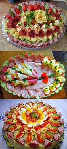 Serve delicious cold plates with ham and cheese :) - nettetipps de Party Food Platters, Food Trays, Meat Platter, Food Carving, Food Garnishes, Garnishing, Veggie Tray, Food Displays, Food Decoration