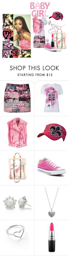 """Pink With an Attitude 2.0"" by roseyfox ❤ liked on Polyvore featuring Giamba, Golden Goose, Roberto Cavalli, Chanel, Converse, Allurez, Silver Expressions by LArocks, Jordan Askill, MAC Cosmetics and Pink"