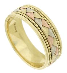 This elegant 14K tri-colored mens wedding band features flat ribbons of red, yellow and white gold braided into a single colorful figure. Yellow gold ropes frame the central ribbon. The edges of the band are brightly polished. The estate wedding ring measures 8.04 mm in width. Circa: 1960. Size 11 3/4. We cannot re-size.