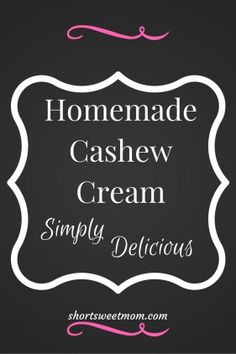 Homemade Cashew Cream. Creamy and delicious. To see the simple steps visit…